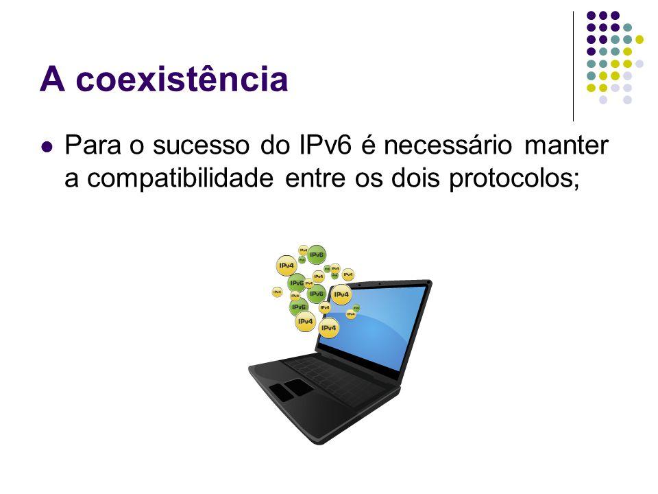 A coexistência Para o sucesso do IPv6 é necessário manter a compatibilidade entre os dois protocolos;