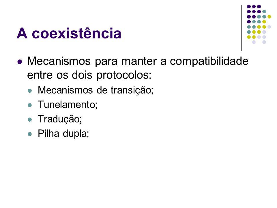 A coexistência Mecanismos para manter a compatibilidade entre os dois protocolos: Mecanismos de transição; Tunelamento; Tradução; Pilha dupla;