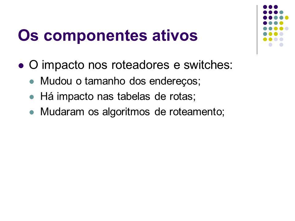 Os componentes ativos O impacto nos roteadores e switches: Mudou o tamanho dos endereços; Há impacto nas tabelas de rotas; Mudaram os algoritmos de roteamento;
