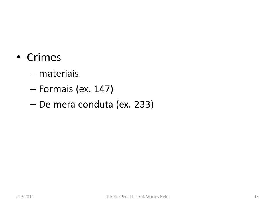 Crimes – materiais – Formais (ex. 147) – De mera conduta (ex. 233) 2/9/2014Direito Penal I - Prof. Warley Belo13