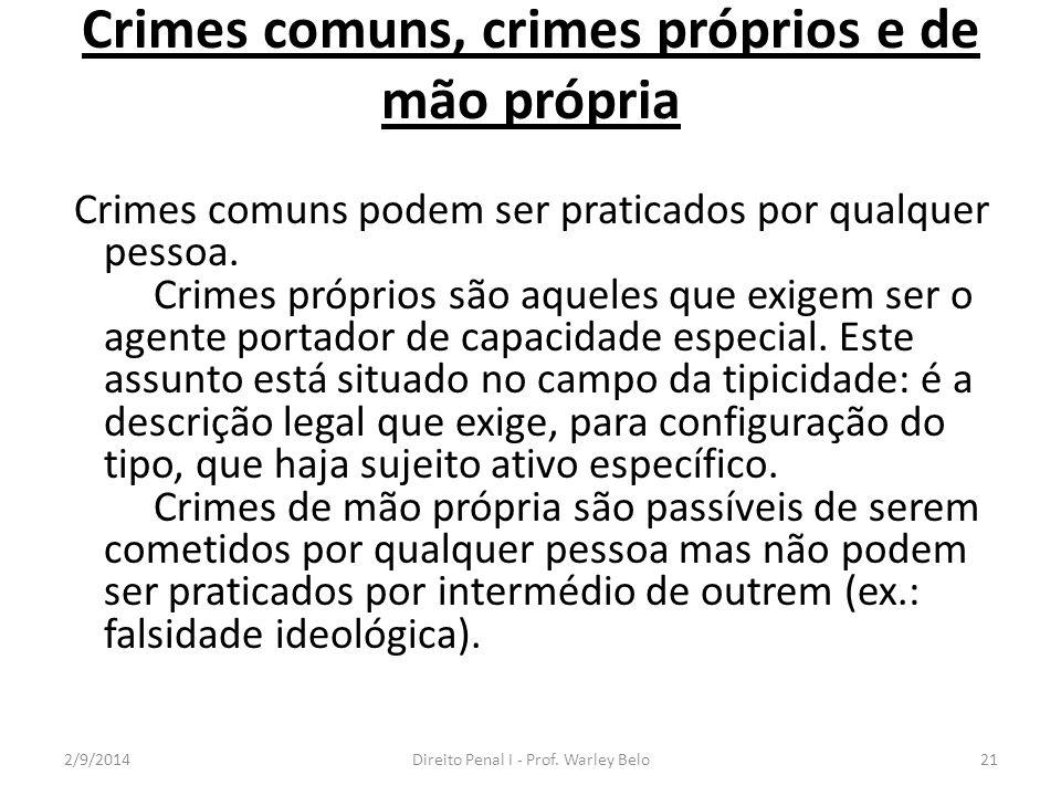 Crimes comuns, crimes próprios e de mão própria Crimes comuns podem ser praticados por qualquer pessoa. Crimes próprios são aqueles que exigem ser o a