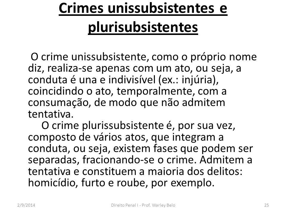 Crimes unissubsistentes e plurisubsistentes O crime unissubsistente, como o próprio nome diz, realiza-se apenas com um ato, ou seja, a conduta é una e
