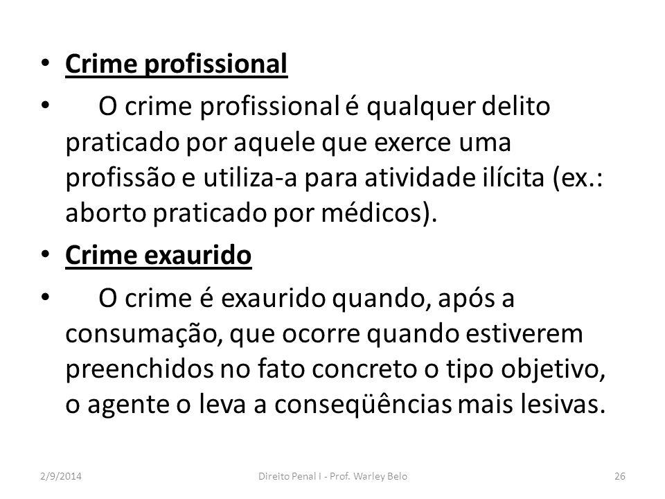 Crime profissional O crime profissional é qualquer delito praticado por aquele que exerce uma profissão e utiliza-a para atividade ilícita (ex.: abort