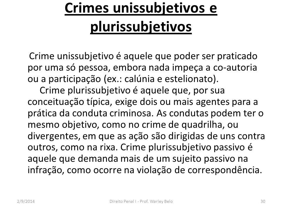 Crimes unissubjetivos e plurissubjetivos Crime unissubjetivo é aquele que poder ser praticado por uma só pessoa, embora nada impeça a co-autoria ou a