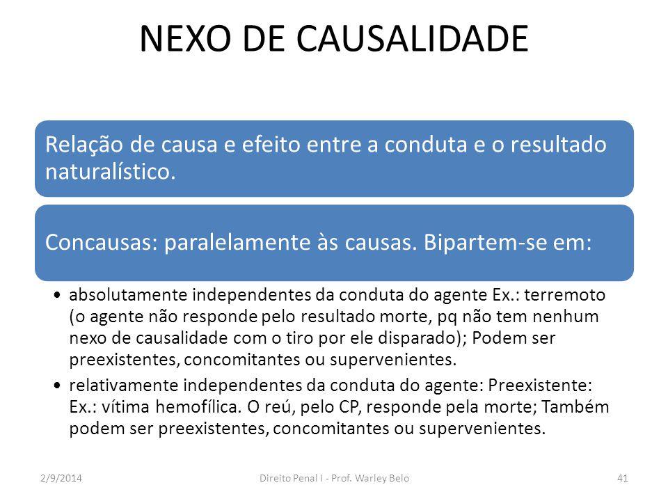 Nexo causal Concomitante: Ex.: a vítima já está sofrendo hemorragia, mas, com o tiro, morre.