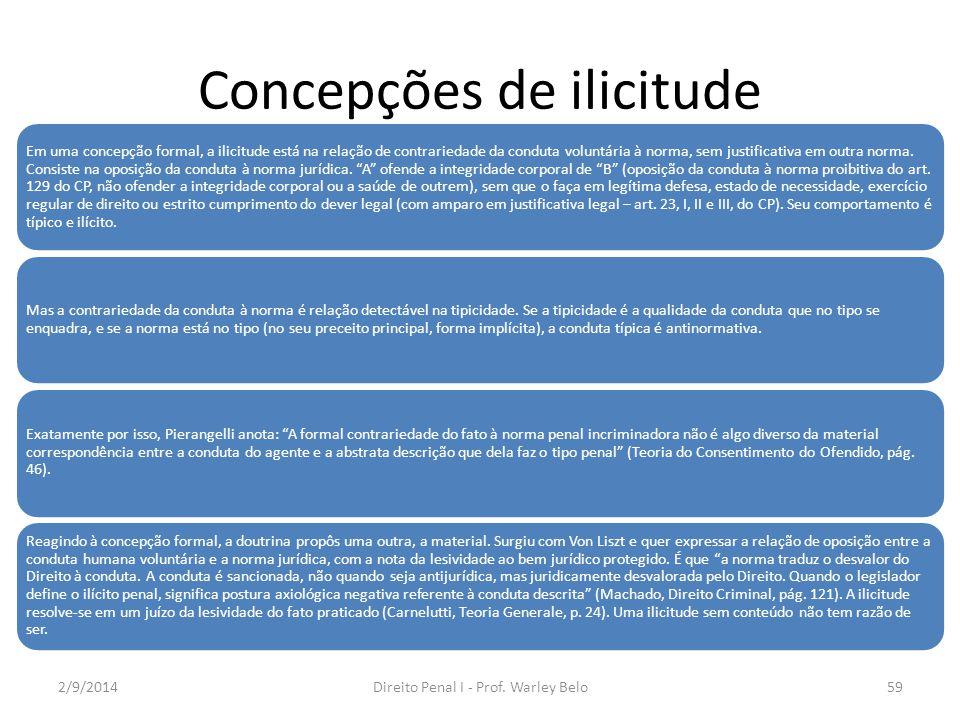 Concepções de ilicitude Em uma concepção formal, a ilicitude está na relação de contrariedade da conduta voluntária à norma, sem justificativa em outr