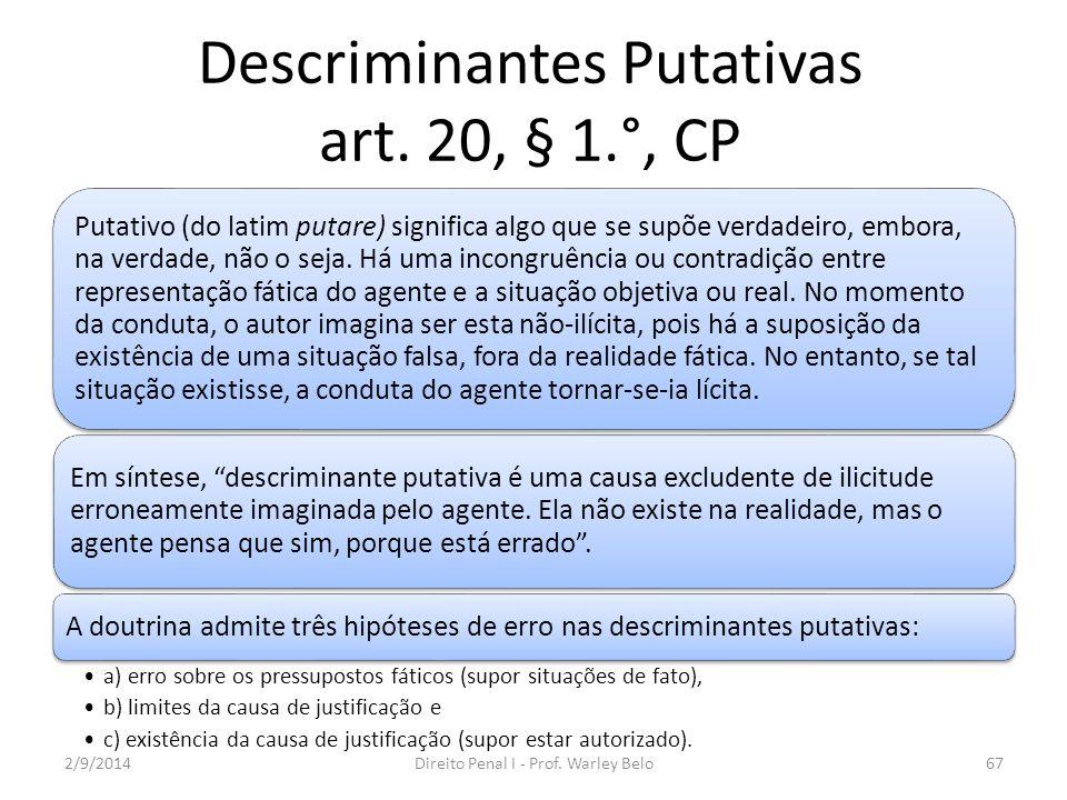 Descriminantes Putativas art. 20, § 1.°, CP Putativo (do latim putare) significa algo que se supõe verdadeiro, embora, na verdade, não o seja. Há uma