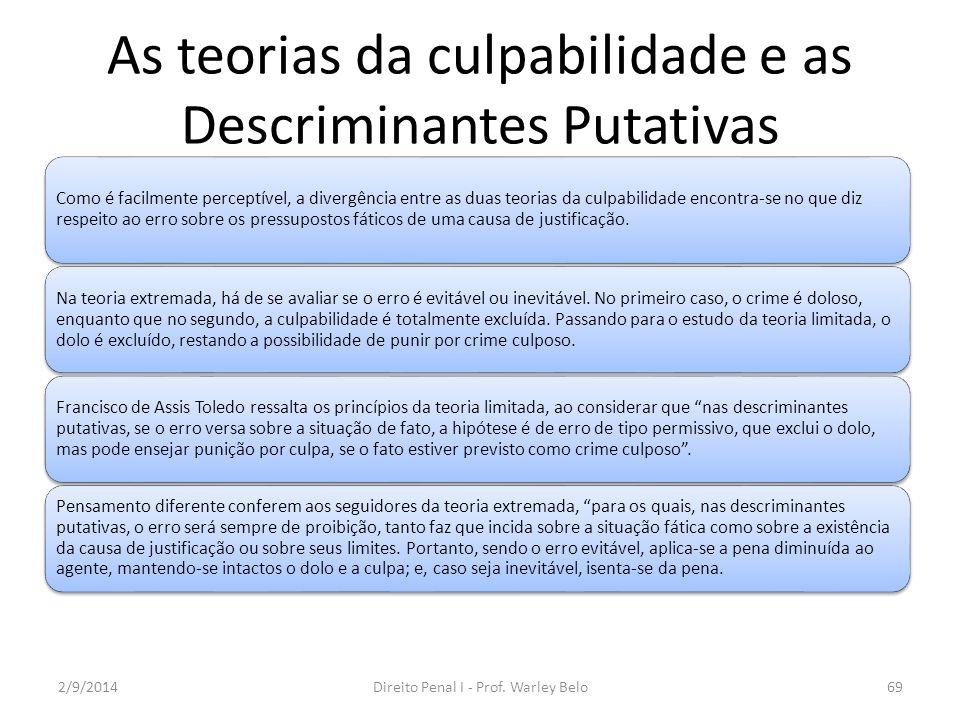 As teorias da culpabilidade e as Descriminantes Putativas Na Reforma Penal de 1984, foi adotada em nossa legislação a teoria limitada da culpabilidade.