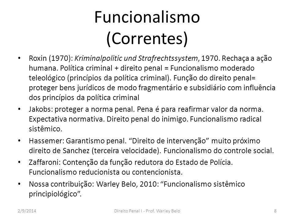 Funcionalismo (Correntes) Roxin (1970): Kriminalpolitic und Strafrechtssystem, 1970. Rechaça a ação humana. Política criminal + direito penal = Funcio