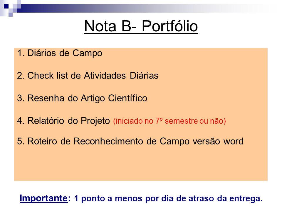 Nota B- Portfólio 1. Diários de Campo 2. Check list de Atividades Diárias 3. Resenha do Artigo Científico 4. Relatório do Projeto (iniciado no 7º seme