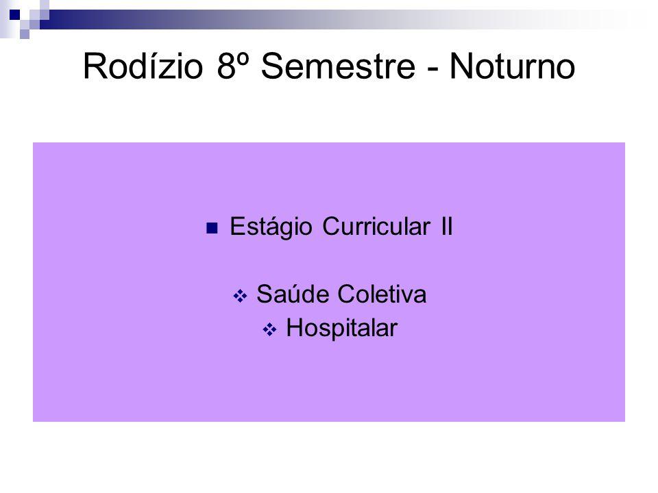Rodízio 8º Semestre - Noturno Estágio Curricular II  Saúde Coletiva  Hospitalar