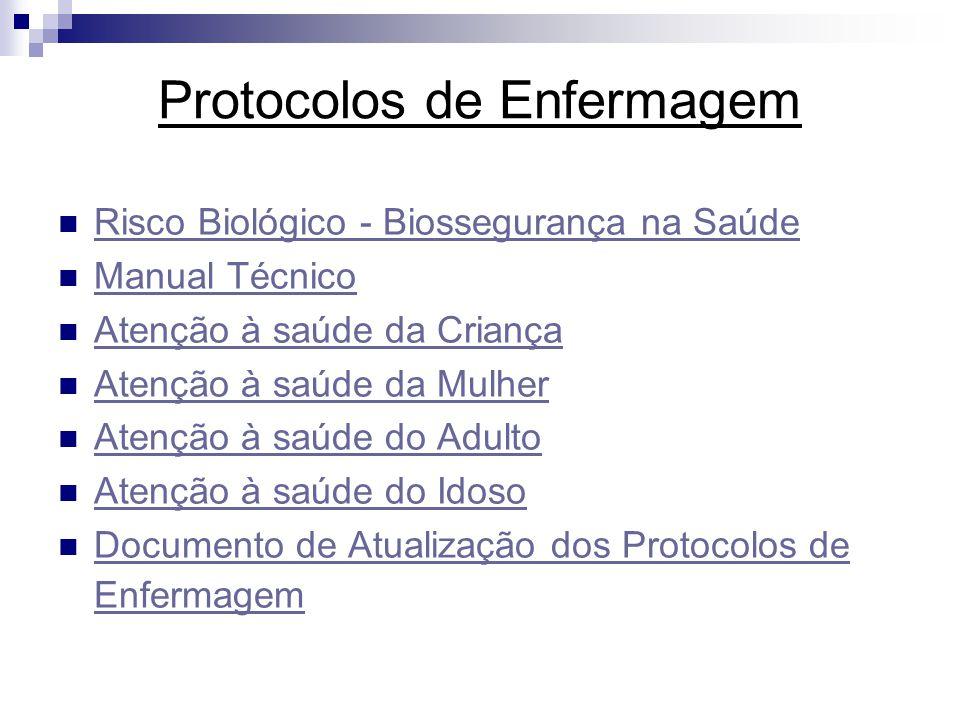 Protocolos de Enfermagem Risco Biológico - Biossegurança na Saúde Manual Técnico Atenção à saúde da Criança Atenção à saúde da Mulher Atenção à saúde do Adulto Atenção à saúde do Idoso Documento de Atualização dos Protocolos de Enfermagem Documento de Atualização dos Protocolos de Enfermagem
