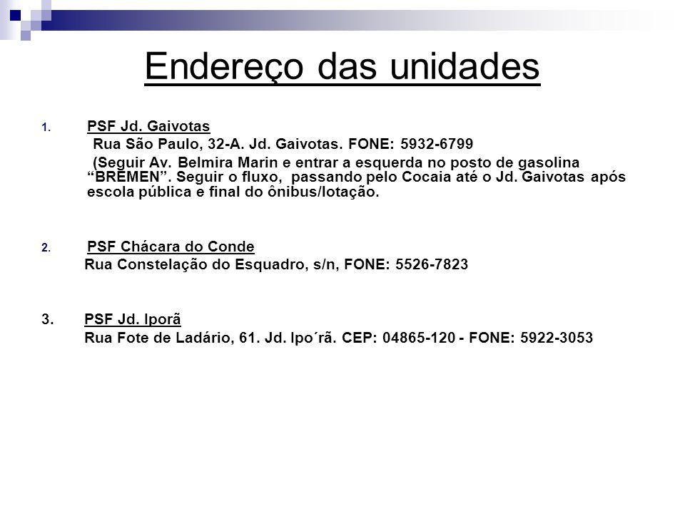 Endereço das unidades 1. PSF Jd. Gaivotas Rua São Paulo, 32-A. Jd. Gaivotas. FONE: 5932-6799 (Seguir Av. Belmira Marin e entrar a esquerda no posto de