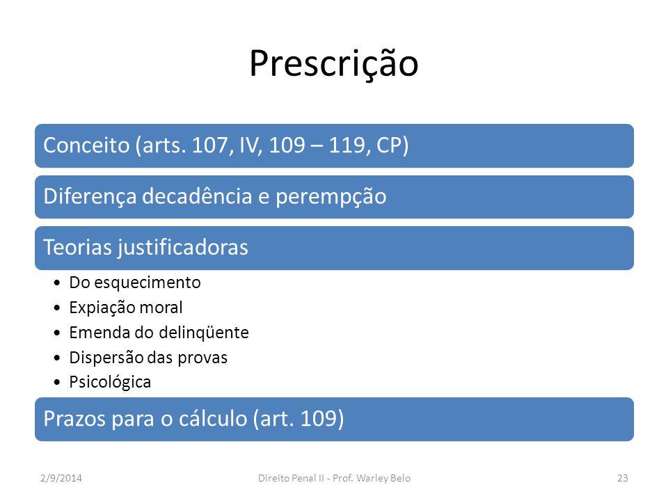 Prescrição Conceito (arts. 107, IV, 109 – 119, CP)Diferença decadência e perempçãoTeorias justificadoras Do esquecimento Expiação moral Emenda do deli