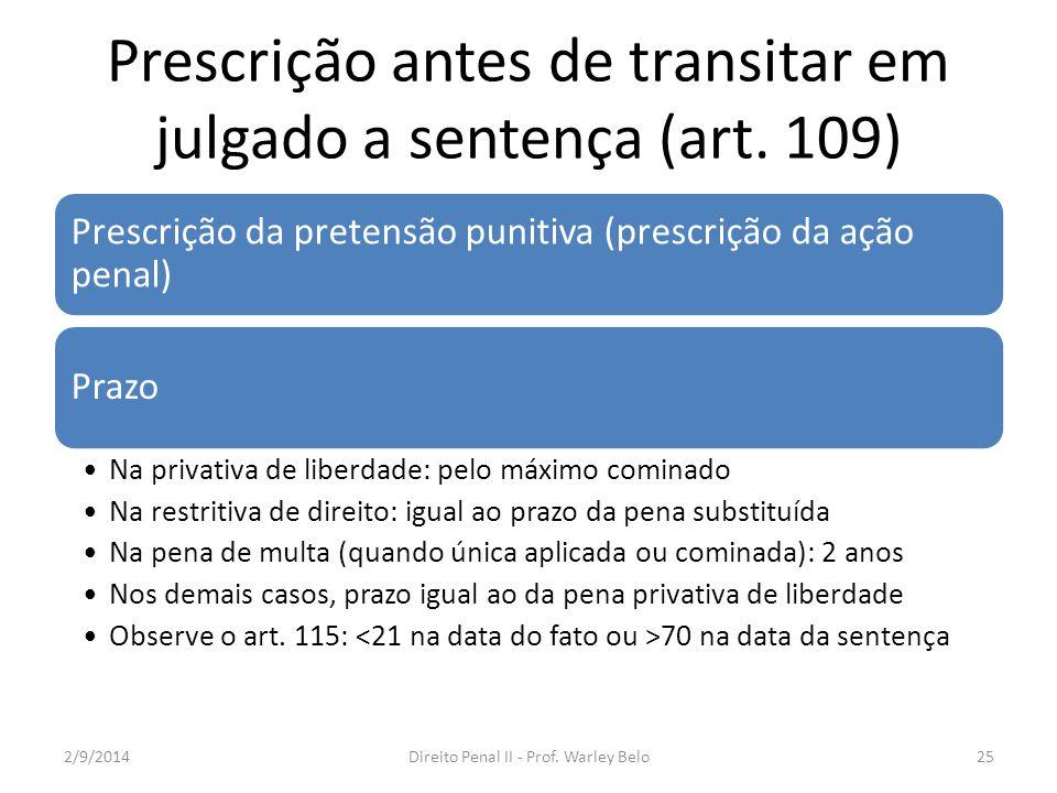 Prescrição antes de transitar em julgado a sentença (art. 109) Prescrição da pretensão punitiva (prescrição da ação penal) Prazo Na privativa de liber