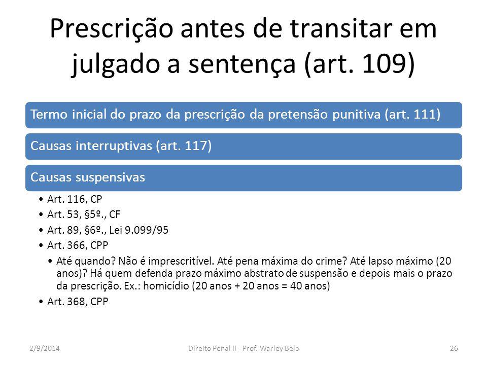 Prescrição antes de transitar em julgado a sentença (art. 109) Termo inicial do prazo da prescrição da pretensão punitiva (art. 111)Causas interruptiv