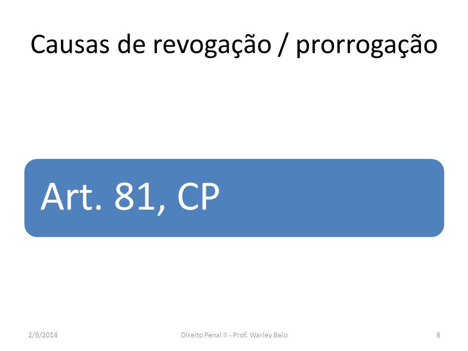 Causas de revogação / prorrogação Art. 81, CP 2/9/20148Direito Penal II - Prof. Warley Belo