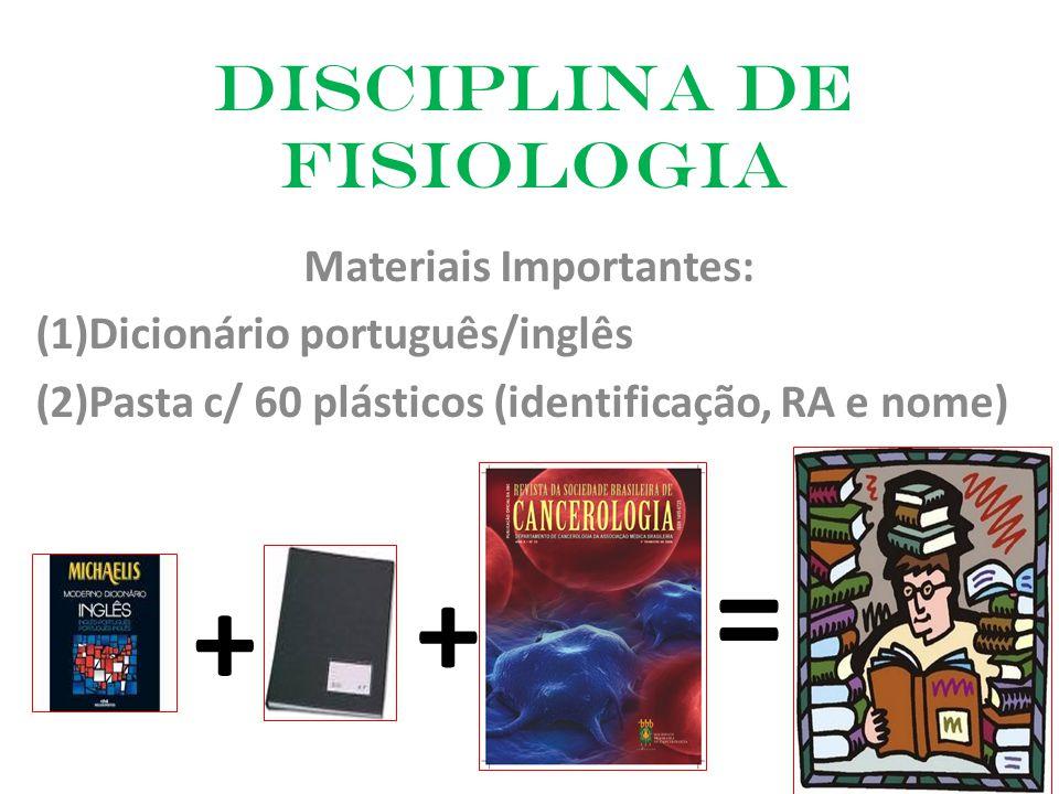 Disciplina de Fisiologia Materiais Importantes: (1)Dicionário português/inglês (2)Pasta c/ 60 plásticos (identificação, RA e nome) + + =