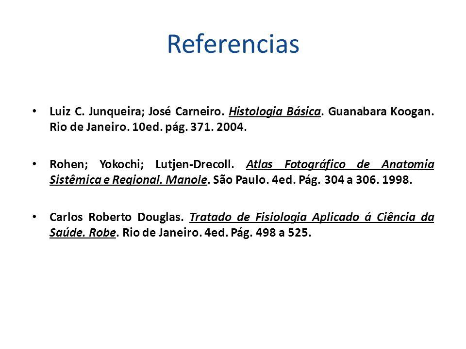 Referencias Luiz C. Junqueira; José Carneiro. Histologia Básica. Guanabara Koogan. Rio de Janeiro. 10ed. pág. 371. 2004. Rohen; Yokochi; Lutjen-Drecol