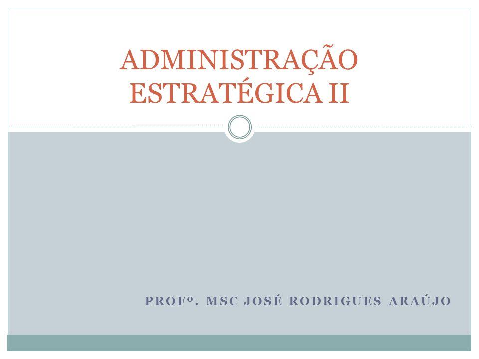 PROFº. MSC JOSÉ RODRIGUES ARAÚJO ADMINISTRAÇÃO ESTRATÉGICA II