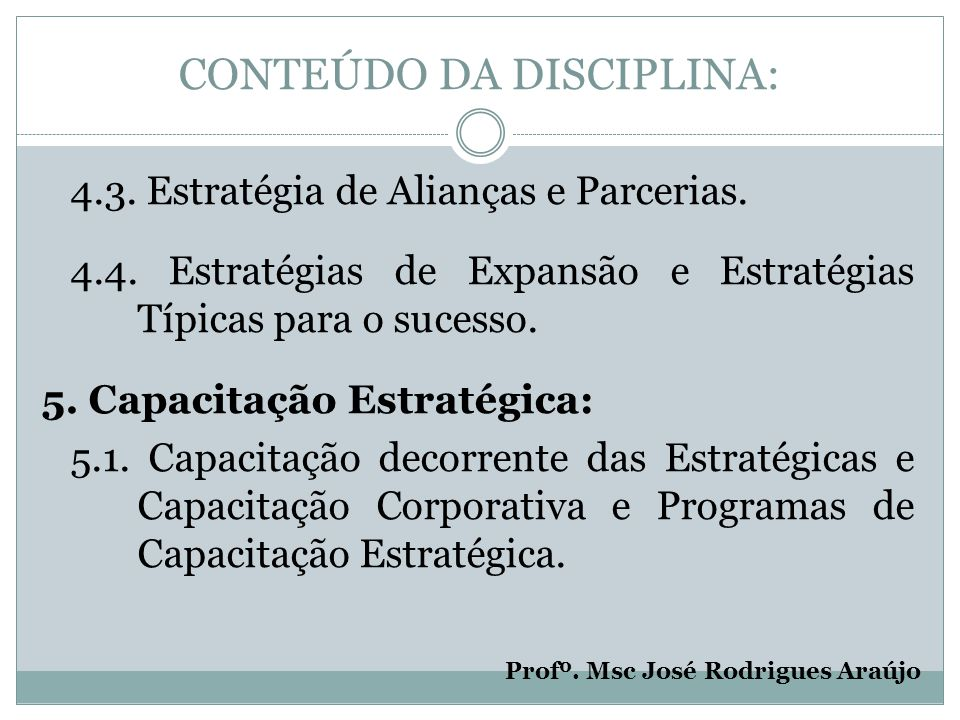 CONTEÚDO DA DISCIPLINA: 6.Plano Estratégico: 6.1.