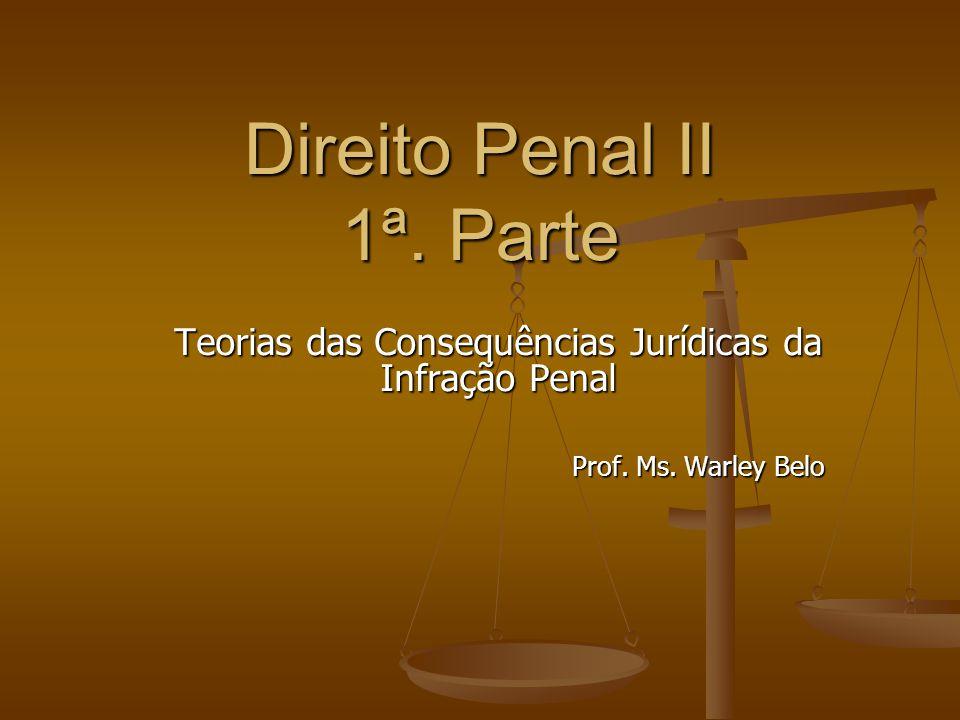 Direito Penal II 1ª. Parte Teorias das Consequências Jurídicas da Infração Penal Prof. Ms. Warley Belo