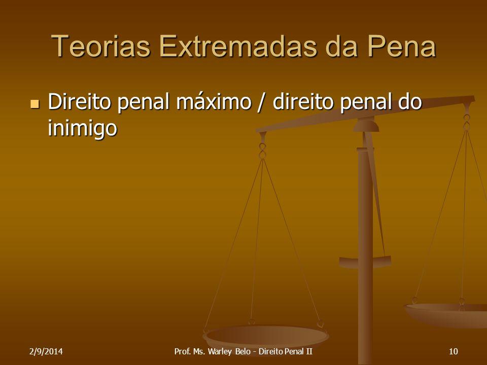 Teorias Extremadas da Pena Direito penal máximo / direito penal do inimigo Direito penal máximo / direito penal do inimigo 2/9/201410Prof. Ms. Warley