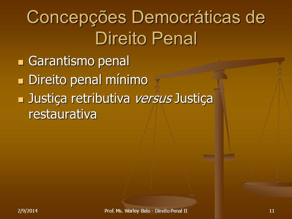 Concepções Democráticas de Direito Penal Garantismo penal Garantismo penal Direito penal mínimo Direito penal mínimo Justiça retributiva versus Justiç