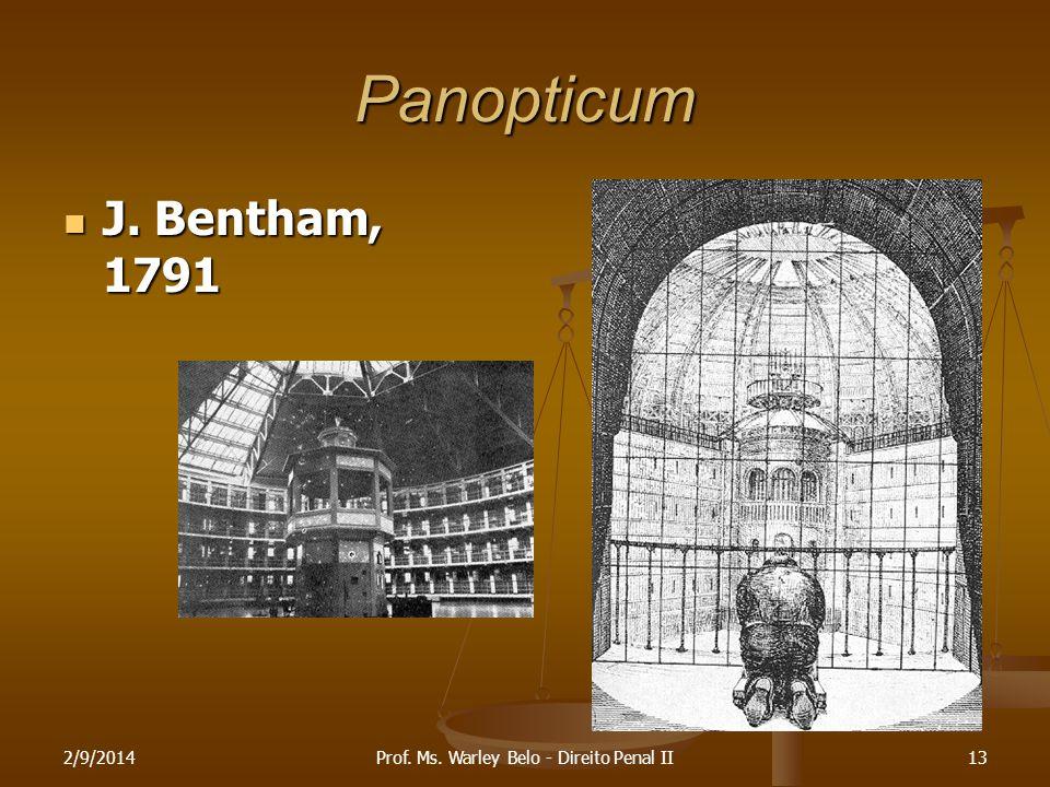 Panopticum J. Bentham, 1791 J. Bentham, 1791 2/9/201413Prof. Ms. Warley Belo - Direito Penal II