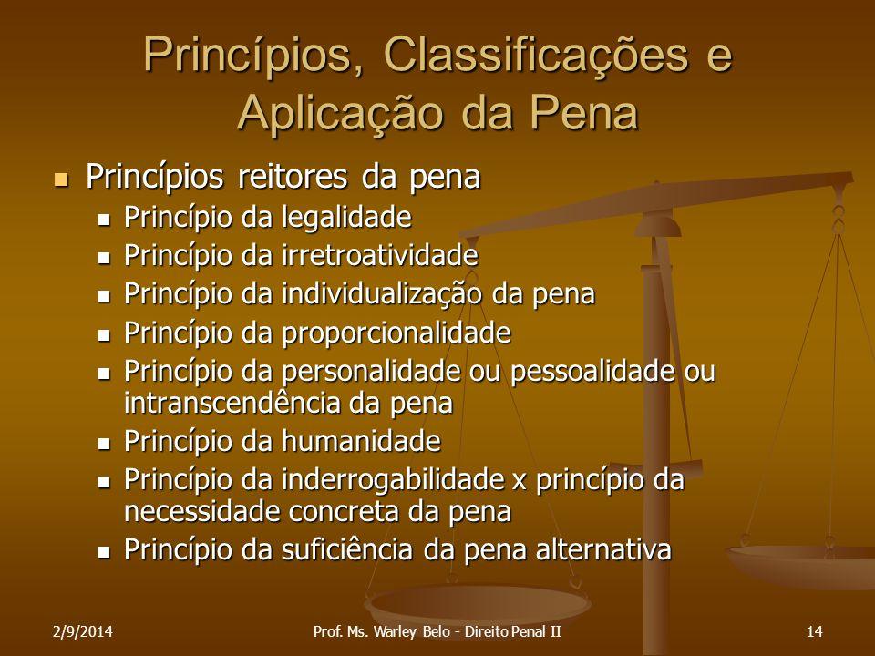 2/9/201414 Princípios, Classificações e Aplicação da Pena Princípios reitores da pena Princípios reitores da pena Princípio da legalidade Princípio da
