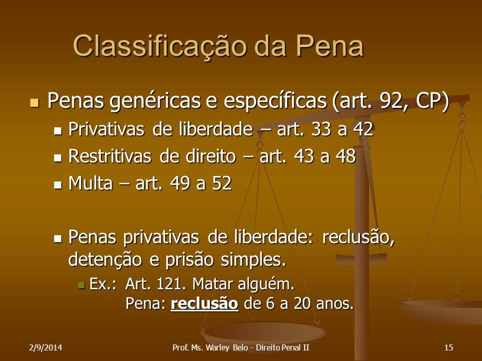 2/9/201415 Classificação da Pena Penas genéricas e específicas (art. 92, CP) Penas genéricas e específicas (art. 92, CP) Privativas de liberdade – art