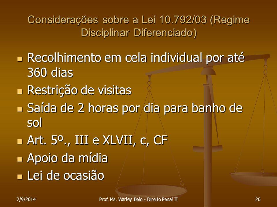 Considerações sobre a Lei 10.792/03 (Regime Disciplinar Diferenciado) Recolhimento em cela individual por até 360 dias Recolhimento em cela individual