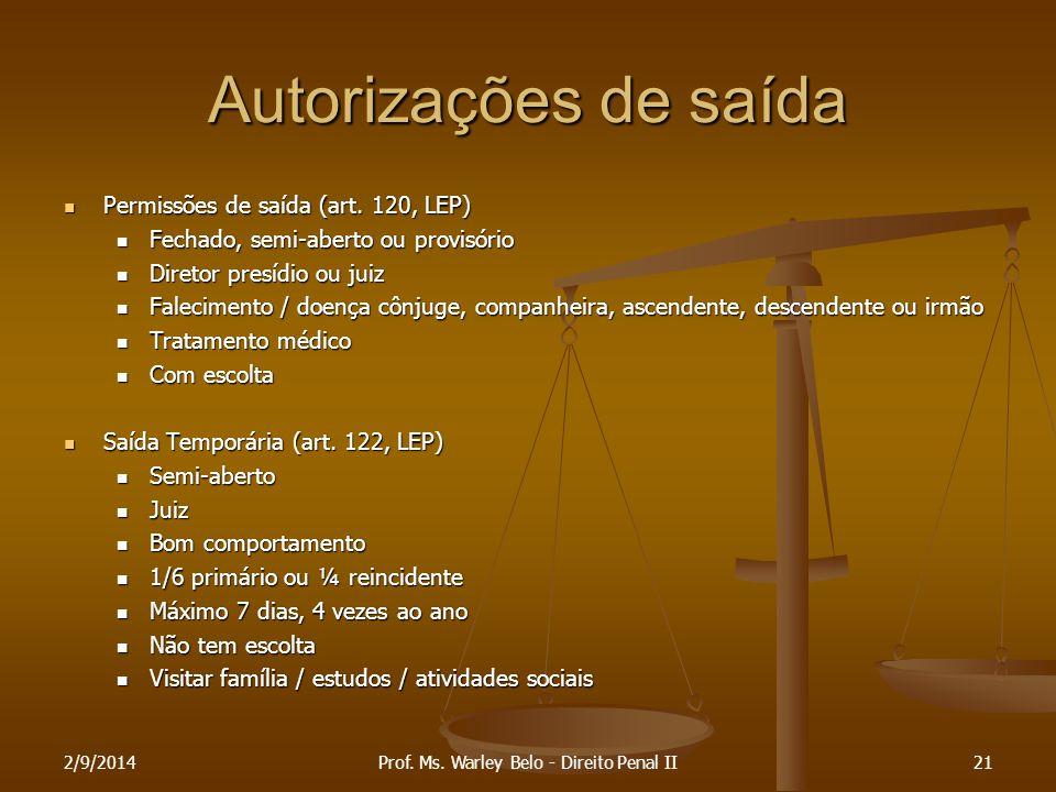 Autorizações de saída Permissões de saída (art. 120, LEP) Permissões de saída (art. 120, LEP) Fechado, semi-aberto ou provisório Fechado, semi-aberto