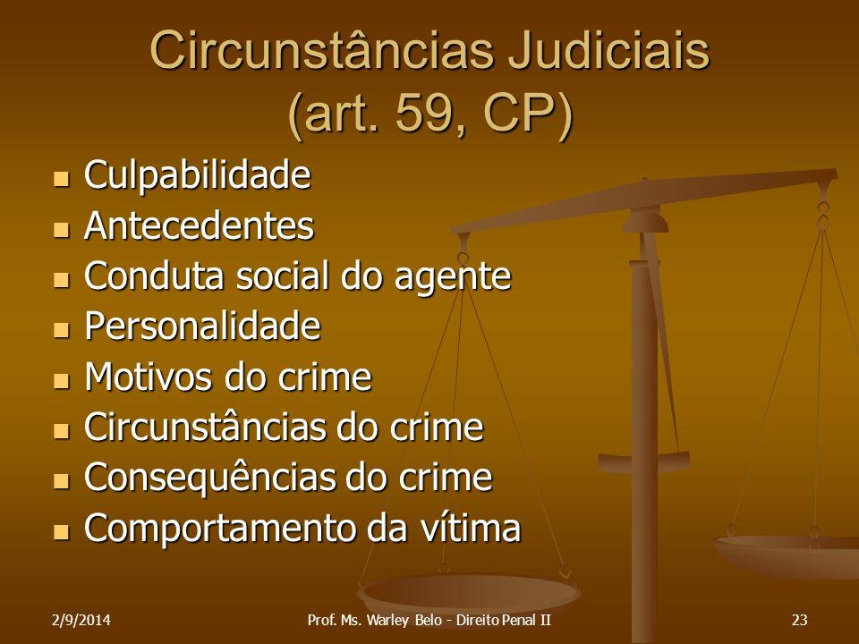 2/9/201423 Circunstâncias Judiciais (art. 59, CP) Culpabilidade Culpabilidade Antecedentes Antecedentes Conduta social do agente Conduta social do age