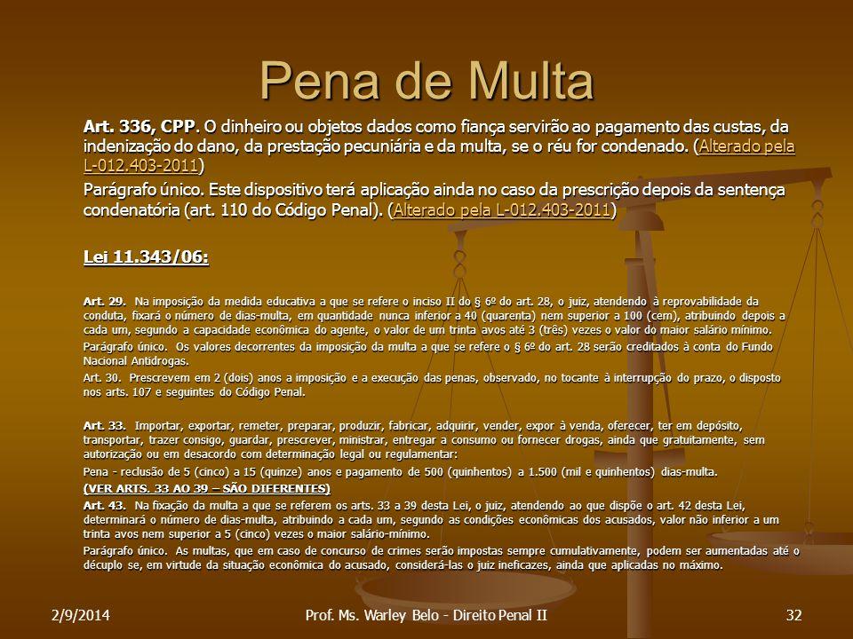 Pena de Multa Art. 336, CPP. O dinheiro ou objetos dados como fiança servirão ao pagamento das custas, da indenização do dano, da prestação pecuniária