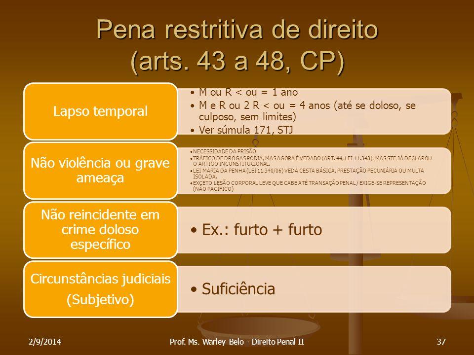 Pena restritiva de direito (arts. 43 a 48, CP) M ou R < ou = 1 ano M e R ou 2 R < ou = 4 anos (até se doloso, se culposo, sem limites) Ver súmula 171,