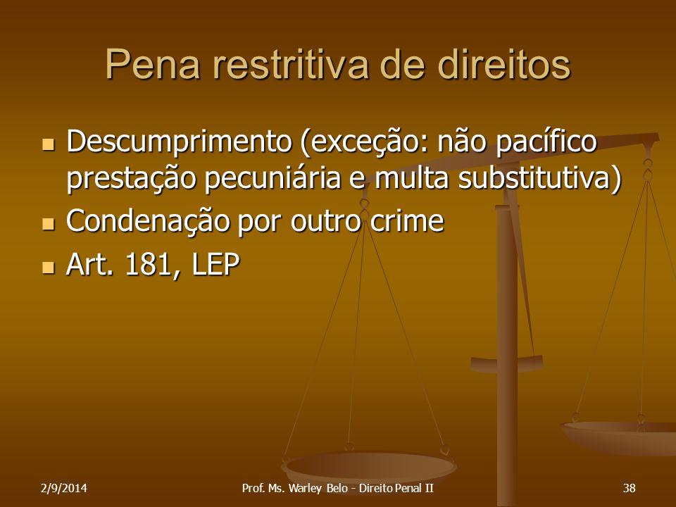 Pena restritiva de direitos Descumprimento (exceção: não pacífico prestação pecuniária e multa substitutiva) Descumprimento (exceção: não pacífico pre