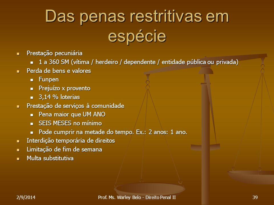 Das penas restritivas em espécie Prestação pecuniária Prestação pecuniária 1 a 360 SM (vítima / herdeiro / dependente / entidade pública ou privada) 1