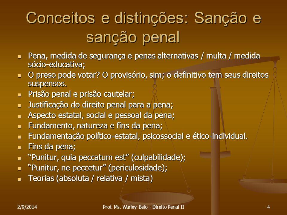 2/9/20144 Conceitos e distinções: Sanção e sanção penal Pena, medida de segurança e penas alternativas / multa / medida sócio-educativa; Pena, medida