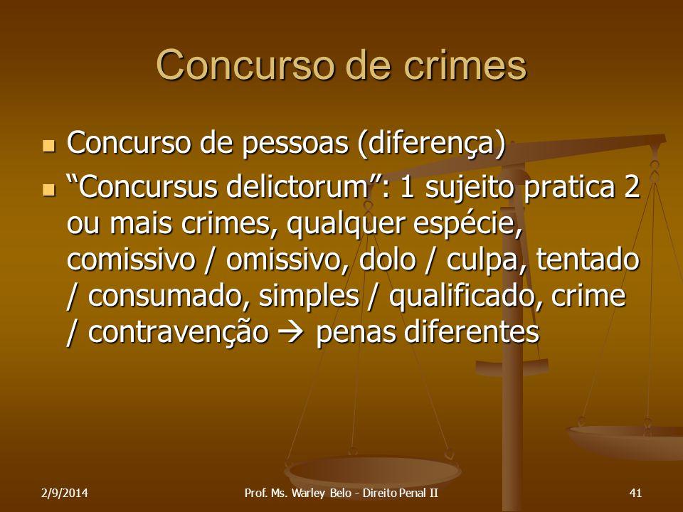 """Concurso de crimes Concurso de pessoas (diferença) Concurso de pessoas (diferença) """"Concursus delictorum"""": 1 sujeito pratica 2 ou mais crimes, qualque"""