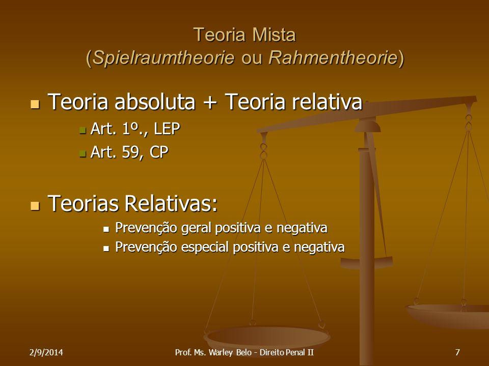 2/9/20147 Teoria Mista (Spielraumtheorie ou Rahmentheorie) Teoria absoluta + Teoria relativa Teoria absoluta + Teoria relativa Art. 1º., LEP Art. 1º.,