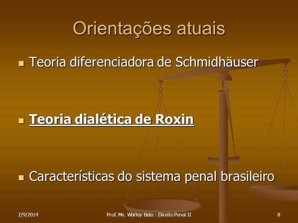 2/9/20148 Orientações atuais Teoria diferenciadora de Schmidhäuser Teoria diferenciadora de Schmidhäuser Teoria dialética de Roxin Teoria dialética de