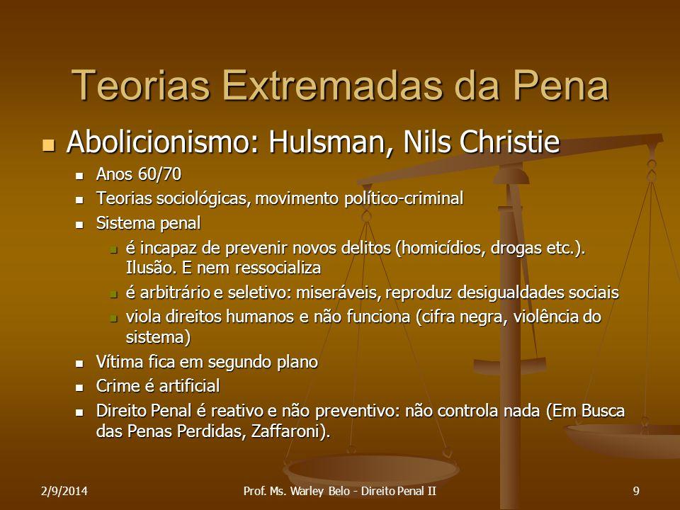 2/9/20149 Teorias Extremadas da Pena Abolicionismo: Hulsman, Nils Christie Abolicionismo: Hulsman, Nils Christie Anos 60/70 Anos 60/70 Teorias socioló