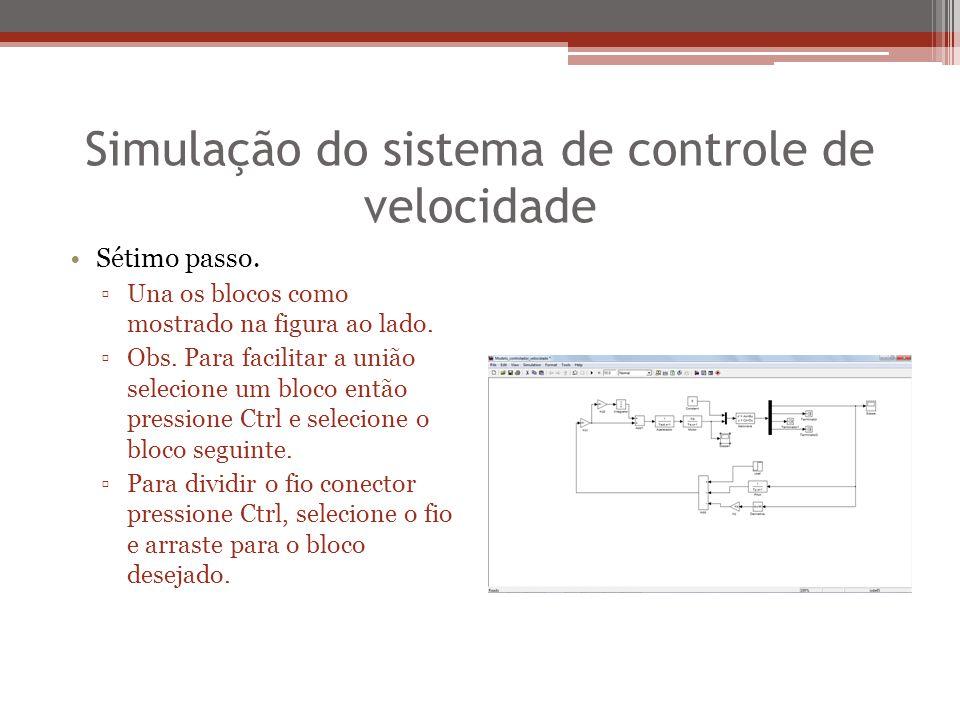 Simulação do sistema de controle de velocidade Sétimo passo. ▫Una os blocos como mostrado na figura ao lado. ▫Obs. Para facilitar a união selecione um