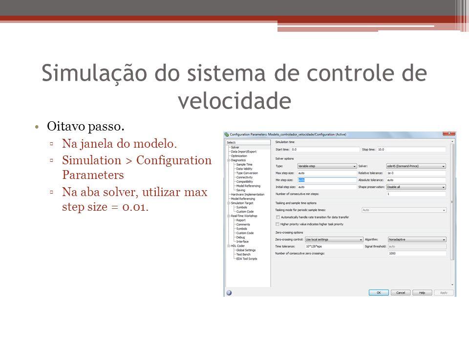 Simulação do sistema de controle de velocidade Oitavo passo. ▫Na janela do modelo. ▫Simulation > Configuration Parameters ▫Na aba solver, utilizar max