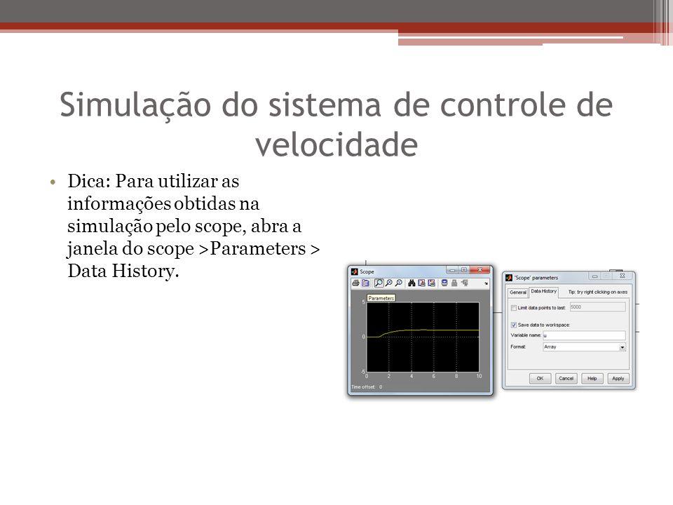 Simulação do sistema de controle de velocidade Dica: Para utilizar as informações obtidas na simulação pelo scope, abra a janela do scope >Parameters > Data History.
