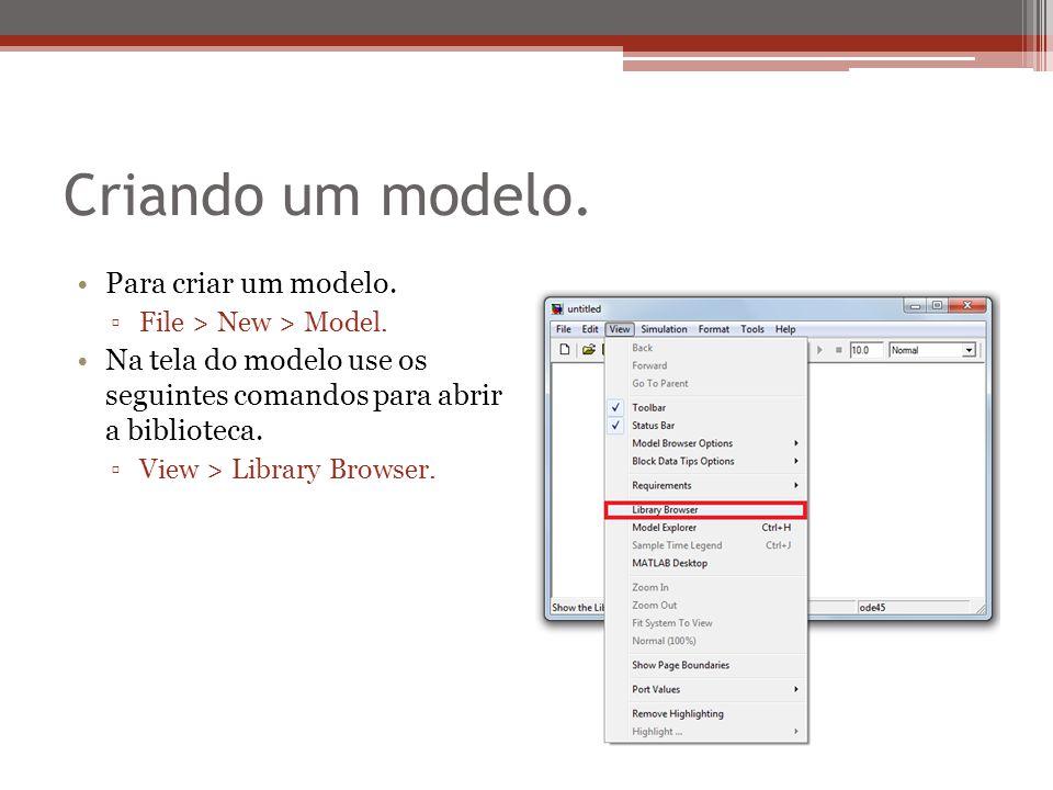 Criando um modelo. Para criar um modelo. ▫File > New > Model. Na tela do modelo use os seguintes comandos para abrir a biblioteca. ▫View > Library Bro