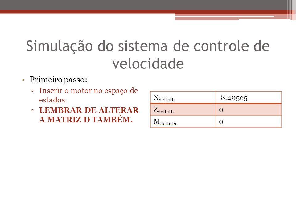 Simulação do sistema de controle de velocidade Primeiro passo: ▫Inserir o motor no espaço de estados. ▫LEMBRAR DE ALTERAR A MATRIZ D TAMBÉM. X deltath