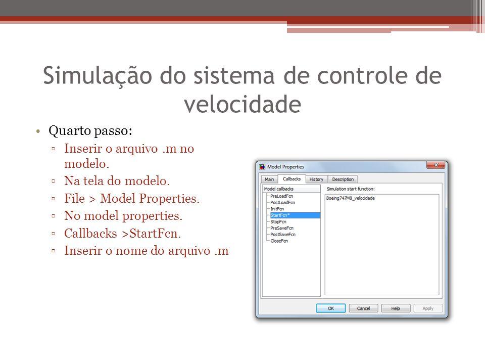Simulação do sistema de controle de velocidade Quarto passo: ▫Inserir o arquivo.m no modelo. ▫Na tela do modelo. ▫File > Model Properties. ▫No model p