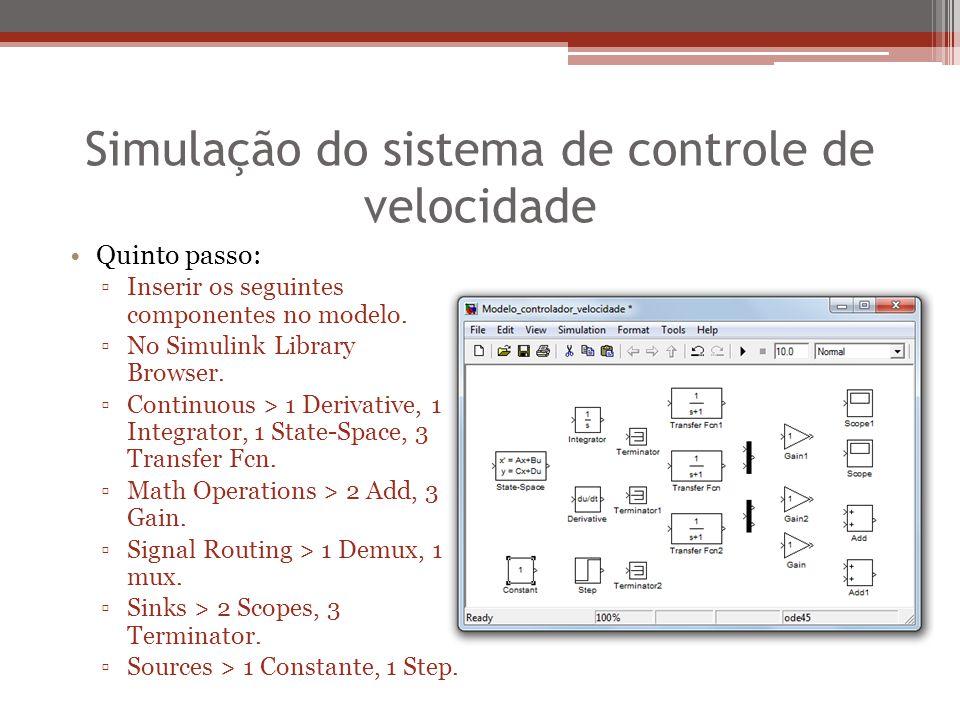 Simulação do sistema de controle de velocidade Quinto passo: ▫Inserir os seguintes componentes no modelo. ▫No Simulink Library Browser. ▫Continuous >
